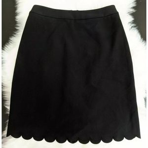 Maison Jules Scalloped-Hem Black Pencil Skirt Sz 0